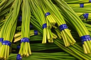 Garlic sprout leek buds