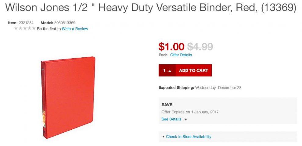 Wilson Jones Heavy Duty Versatile Binder Red Color
